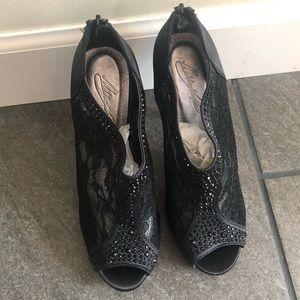 Peep toe lace and satin heels